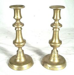 ANTIQUE PAIR OF 19th CENTURY BRASS BALUSTER TURNED PUSH UP CANDLESTICKS