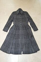 Burberry Wool Long Full Length Button Up Over Coat Grey Womens UK Size 8  US 6