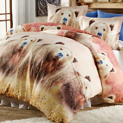 3 PC Grizzly Bears Log Cabin Lodge Duvet Cover Shams King Bedding Home Decor