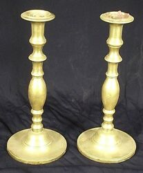 ANTIQUE 19th CENTURY HEAVY SOLID BRASS BALUSTER TURNED CANDLESTICKS