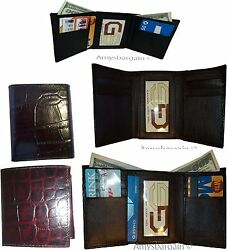 Lot of 5 Italian Style Crocodile Printed Leather Man's Brown Trifold wallet BNWT