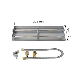 Stanbroil Stainless Steel Natural Gas Fireplace Dual Flame Pan Burner Kit 20.5-