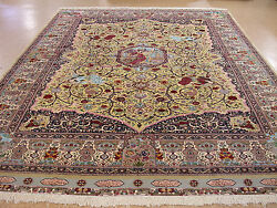 12 x 16 PERSIAN TABRIZ PICTORIAL Hand Knotted Wool Silk YELLOW FINE Oriental Rug