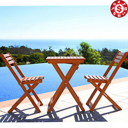 3pc Patio Bistro Set Folding Table Chair Set Outdoor Garden Hardwood Furniture