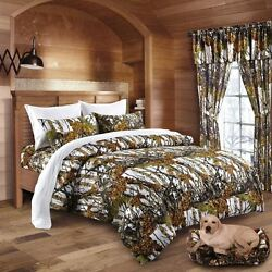 22 PC SET WHITE CAMO QUEEN SIZE SNOW COMFORTER SHEET CURTAIN CAMOUFLAGE BEDDING