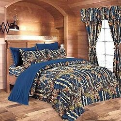 22 PC NAVY BLUE CAMO QUEEN SIZE SET!! COMFORTER SHEET CURTAIN CAMOUFLAGE BEDDING