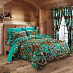 22 PC QUEEN SIZE TEAL!! CAMO BEDDING SET COMFORTER SHEET CAMOUFLAGE 3 CURTAINS