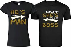 He's The Man But  She's The Boss  Couple matching funny cute T-Shirts S-5XL
