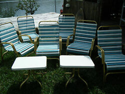 Vintage MCM Set of 6 Gold Aluminum Lawn Chairs 2 Side Tables Teal
