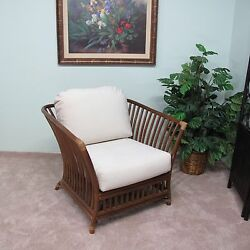 Riga Rattan Lounge Club Chair Cushions Made in USA Delivered Fully Assembled