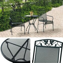 Bistro Set Coffee Table Chairs Outdoor Patio Furniture Wrought Iron Black 3 Pcs