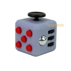 Grey Red Fidget Block Toy Anxiety Stress Relief Focus Attention Cube Square $4.99