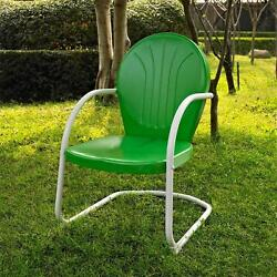 Green White OUTDOOR METAL RETRO VINTAGE STYLE CHAIR Patio Furniture