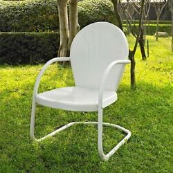 White OUTDOOR METAL RETRO VINTAGE STYLE CHAIR Patio Furniture