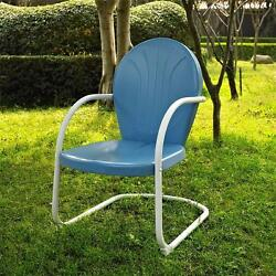 Blue White OUTDOOR METAL RETRO VINTAGE STYLE CHAIR Patio Furniture