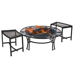 Fire Pit Set Patio Furniture Outdoor Garden Two Mesh Bench Seats Screen Cover