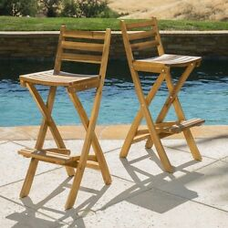 Outdoor Wooden Bar Stools Patio Furniture Home Deck Yard Counter Height Set Of 2