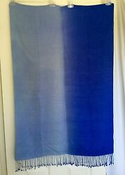 Blue Ombre Pashmina Wool Silk Scarf  28