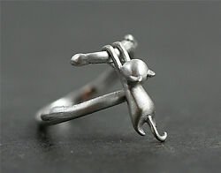 Lovely Cat Silver Plated Ring Kitty pendant Women Party Finger Rings Jewelry