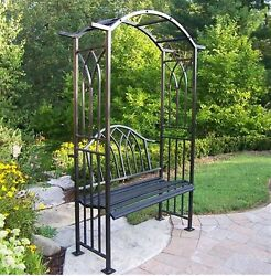 Oakland Living 59.5-inWx84.5-inH Iron Mississippi Royal Garden Arbor with Bench