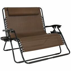 2 Person Folding Lounge Chair 2 Trays Patio Beach Camping Deck Garden Furniture