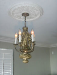 19TH C. FRENCH FIGURAL GILDED BRONZE 5 LIGHT CHANDELIER PUTTI MUSEUM QUALITY