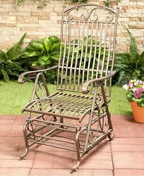 Outdoor Wrought Iron Glider Bronze Classic Seating Porch Patio Motion Backrest