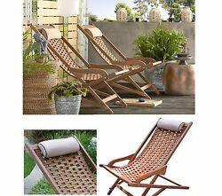 Solid Wood Lounge Chair Porch Garden Patio Eucalyptus Swing Lounger Folding Seat