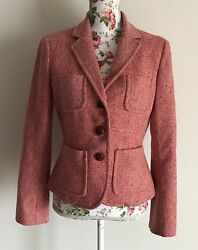 J Crew Women's Size 6 Red Pink Wool Rabbit Hair Blend Lined Jacket Lightly Used