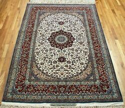 5 x 8 PERSIAN Isfahan Signed SEIRAFIAN Hand Knotted Wool Silk FINE Oriental Rug