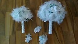 15pc Ice Blue&Wht Wedding Bridal BouquetBout Set with Silk Flowers and Feathers