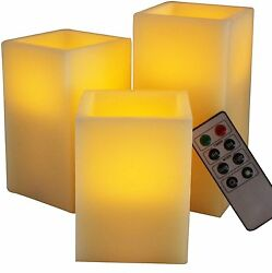 BEST SQUARE FLAMELESS LED CANDLES WITH TIMER REMOTE CONTROL Set of 3 Unscented