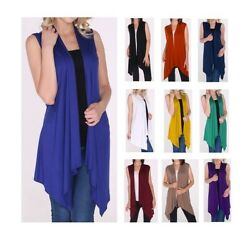 Women Open Vest Tunic Top Shawl Collar Draped Sleeveless Cardigan USA S M L XL $13.99