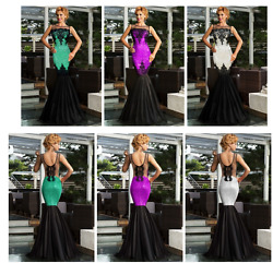 ✨LADIES LUXY SEQUIN LACE ACCENT MERMAID COCKTAIL LONG DRESS US SELLER#304✨ $10.88