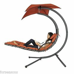 Chaise Lounge Outdoor Hanging Lounger Arc Stand Porch Swing Hammock Chair Canopy
