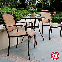 Patio Bistro Set Sling Table Chair Furniture Garden Steel Seat Tan 3 Pc Outdoor