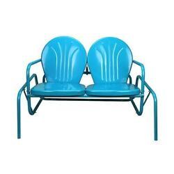 Turquoise Blue Retro Metal Tulip Outdoor Double Glider 41