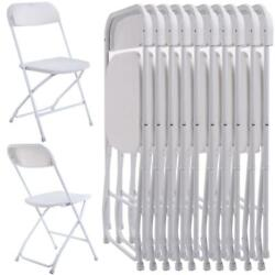 New Commercial White Plastic Folding Chairs Stackable Picnic Party Set of 10