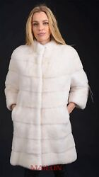 610639 NEW WITH TAGS NATURAL CREAMY WHITE MINK FUR COAT SIZE: S-M EUR 38