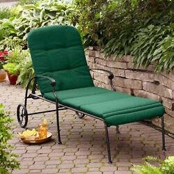 Chaise Lounge With Wheels Outdoor Patio Metal Powder Coated Chair Cushion Green