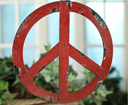 Rustic Red Metal Groovy Peace Sign Wall Hanging Home Door Decor $16.95