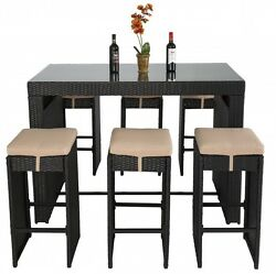 7 Pcs Bar Height Dining Set Rattan Wicker Durable Cushioned Patio Furniture