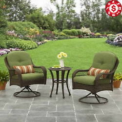 Outdoor Bistro Set Patio Garden Furniture Table Swivel Chairs Cushioned 3 Piece