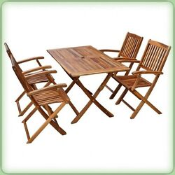 5 Piece Garden Dining Set Wooden Furniture Folding Table & Chairs Outdoor Patio