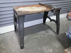 Antique Cast Iron Industrial Work Bench Solid Very Heavy Duty LOCAL PICK UP ONLY