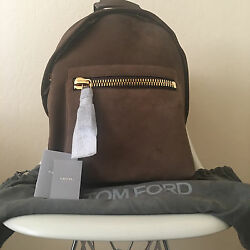 TOM FORD Buckley Backpack Suede Leather Tobacco Laptop Bag H0250T SGG $2950 NEW