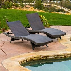 Outdoor Chaise Lounge Chair Brown Adjustable Patio Furniture Accessory 2 Piece