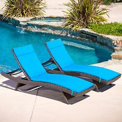 Chaise Lounge Chair Set Two Outdoor Wicker Chaise Lounges Chairs Brown w Blue