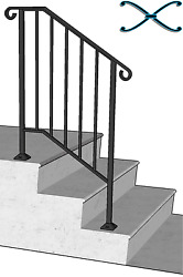Iron X Handrail Picket #2 RAILING Rail Fits 2 or 3 Step