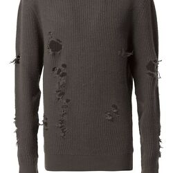 YEEZY MENS DISTRESSED KNIT SWEATER